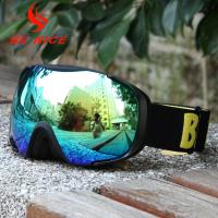 China Customized Strap Mens Snowboard Goggles Anti - Scratch With Fleece / Foam wholesale