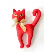 China Red Color Soft Plush Toys Cat Shape 100% Polyester Filling Material on sale