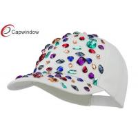 China White Multi Cotton Baseball Caps with Crystal Homica Stones / Unisex wholesale