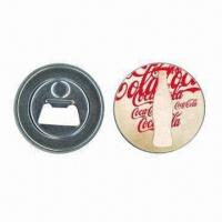 China 58mm tin button bottle opener with magnetic, ideal for cola wholesale