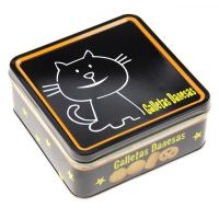 China Galletas Danesas Tin Cookie Containers Black Color Printed Box 0.23 mm Thickness wholesale
