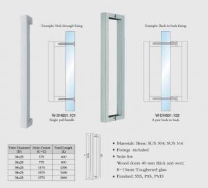 China square tub W-DH601 back to back SUS304 Stainless Steel entry door handles set  glass door  handle wooden door handles on sale