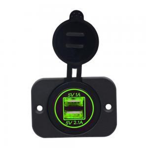 China 12V 24V for Motorcycle Car +5V 3.1A Green LED Light Dual USB Charger Socket Adapter Power Outlet wholesale