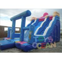 Quality Blue Playground Adult Inflatable Slides 3 Lanes For Sea Paradises for sale