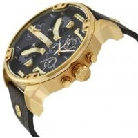 China Wholesale NEW DIESEL MR. DADDY DZ7371 2.0 57mm CASE BLACK LEATHER STRAP GOLD MENS WATCH wholesale