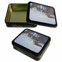 China CYMK Printed Square Tin Containers , Gift Packaging Box With Rolled Out Lid wholesale