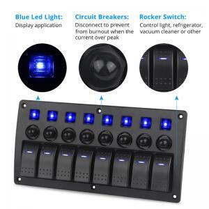 China 8 Gang Red LED Indicators Rocker & Circuit Breaker Waterproof Marine Boat Rv Switch Panel wholesale