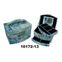 Wholesale Blue Square Faux Leather Jewelry Box With Handle & Mirror from china suppliers