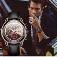 China Wholesale Fashion Men Luminous Waterproof 30m Leather Band Strong Appearance Chronograph Sports Watch  2071 wholesale