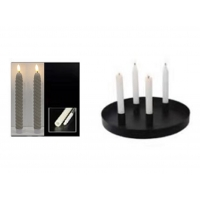 round shape metal candle holder with 4pcs magnet holder,D25.5*H2.5cm,mattblack,with 4pcs  wax candle twisted version