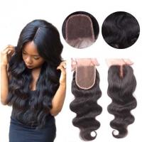 Wholesale Middle Part Human Hair Lace Closure With Baby Hair 4x4 Natural Color Body Wave from china suppliers