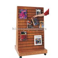 China 2 Way Function Slatwall Movable Magazine Display Stand Wooden Free Standing Display wholesale