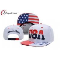 China USA Flag Printing Snapback Baseball Caps With 3D Embroidery On The Crown wholesale