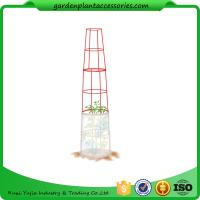 "China Large Tall Tomato Plant Stakes , Red Heavy Duty Tomato Cages size 14"" in diameter x 66"" H overall Fabric is imported wholesale"