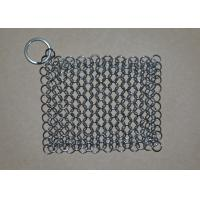China Rectangular Chainmail Cast Iron Pan Scrubber Stainless Steel Wire Scrubber wholesale