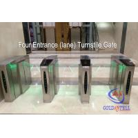 China Double Core Fingerprint Biometric Turnstile Gate , Fast Pass Flap Barrier Turnstile With Software wholesale