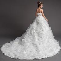 China Small Strapless White Ruched Wedding Dresses Long Chapel Train Sleeveless Wedding Dresses on sale