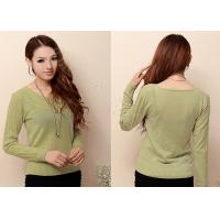 China Autumn Womens Cashmere Sweaters Pullover with Long Sleeve , Scoop Neck Sweater with Two Cables wholesale