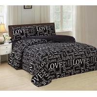 China Pigment Printed 4 Piece Bedding Set Easy Care With White Words Pattern wholesale