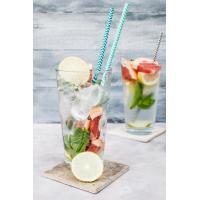 China 19.7 Cm Kraft Spiral Blue And White Paper Straws Environmental Protection wholesale