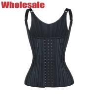 China Breathable Hollow Waist Trainer Vest Black With Adjustable Strap 25 Steel Bones MH1879 wholesale