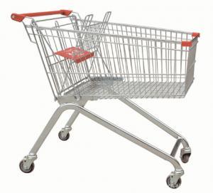China Powder Coating Supermarket Shopping Trolley Cart , 4 Wheel Metal Shopping Carts on sale