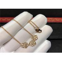 China Rose Design 18K Gold Diamond Necklace For Wedding Anniversary Party wholesale