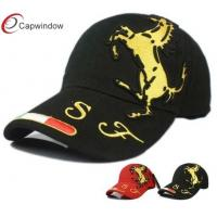 China F1 Horse Printed Baseball Caps Black 5 Panel Hat With Metal Buckle Closure wholesale