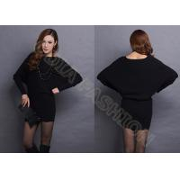 China Black Dolman Sleeve Acrylic Womens Long Sweater Pullover in Round Neck wholesale