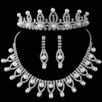 China Jewelry Set with Rhinestones/Pearl, Bridal Tiara Crown/Necklace/Earrings Set, Ideal Pearl Jewelry wholesale