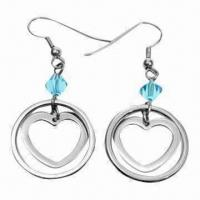 China Fashionable Drop Earrings with Zircons, Made of Titanium and 316L Steel Materials wholesale