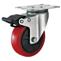 China 4 Inches Polyurethane PU Caster Wheel With Total Locking Brakes Color Optional for sale