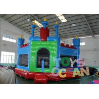 China Blue Inflatable Bounce House With Panel , Inflatable Moonwalks For Rent wholesale