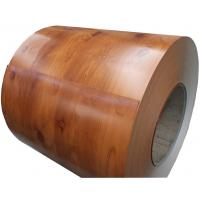 China Wood Texture Prepainted Galvalume Steel Coil , EN ASTM PPGL Coil wholesale