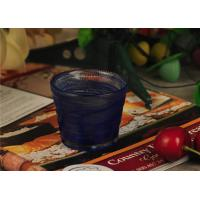 China Birthday handmade blue glass candle holder , 70ml glass candle jars wholesale