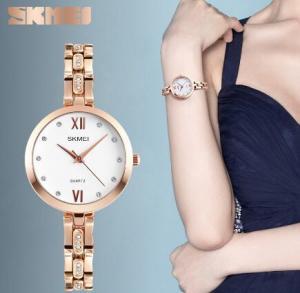 China Skmei Fasion Ladies Stainless Steel Strap Simple Bracelet Quartz Wrist Watches 1225 wholesale