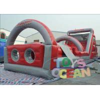 China Customized Inflatable Obstacle Course , EN14960 Red Grey Inflatable Jumping Slides wholesale
