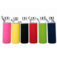 China 16 Oz Fancy Unbreakable Glass Water Bottle With Stainless Steel Cap wholesale