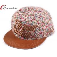 China Five Panel Floral Youth Baseball Caps Flat Brim Baseball Hats For Spring wholesale