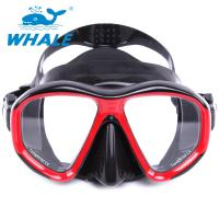 China UV400 Protection Anti Fog Diving Mask With Tempered Glass Lens , black red wholesale