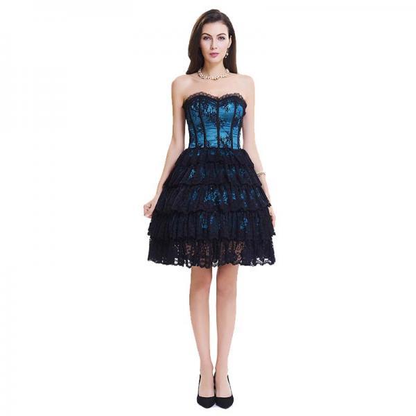 Dark Blue Lace Steel Bone Corset Dress front