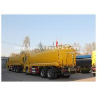 China Flammable gasoline tank trailer , 4mm 5mm 6mm tank thickness liquid tank trailers Yellow color with warranty on sale