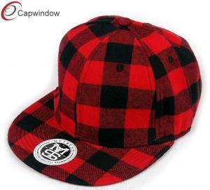 China Youth Red Tartan Wool Baseball Caps 6 Panel Baseball Hat With Plastic Snap Closure wholesale