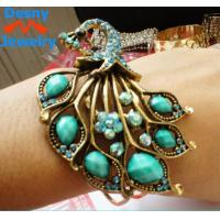 China Beautiful restro crystal blue peacock bangles bracelets metal casting jewelry wholesale