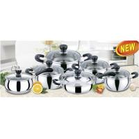 China 12 PCS ss 201 Apple Stainless Steel Cookware Sets with Thickness 0.45 mm wholesale