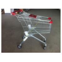 China Supermarket Push Cart Retail Grocery Metal Wire Shopping Trolley Cart With Powder Coated on sale