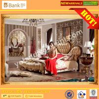 Wholesale (BK0109-0003)BISINI Brand New Gold Wooden Bed , Royal and Luxury Bedroom Furniture Set, King Size Bed with Nightstand from china suppliers