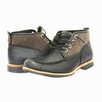 China Men's Fashionable Leisure/Leather Shoes with Stacked Heels, Black, Breathable wholesale