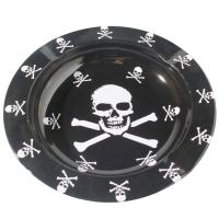 China Printed Round Black Metal Tin Plate Serving Tray For Food / Water wholesale