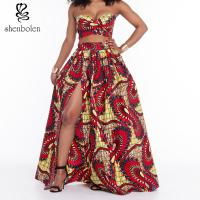 China Suits Dress Clothing African Wax Print Short Tops Long Skirt Set Split Front wholesale